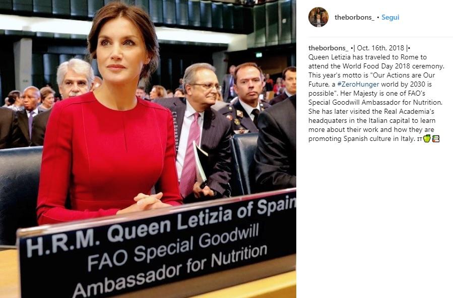 Letizia Ortiz a Roma: tubino rosso al convegno della Fao