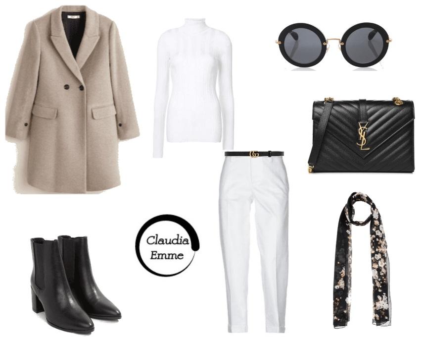 Outfit del giorno: bianco e panna per un look casual chic