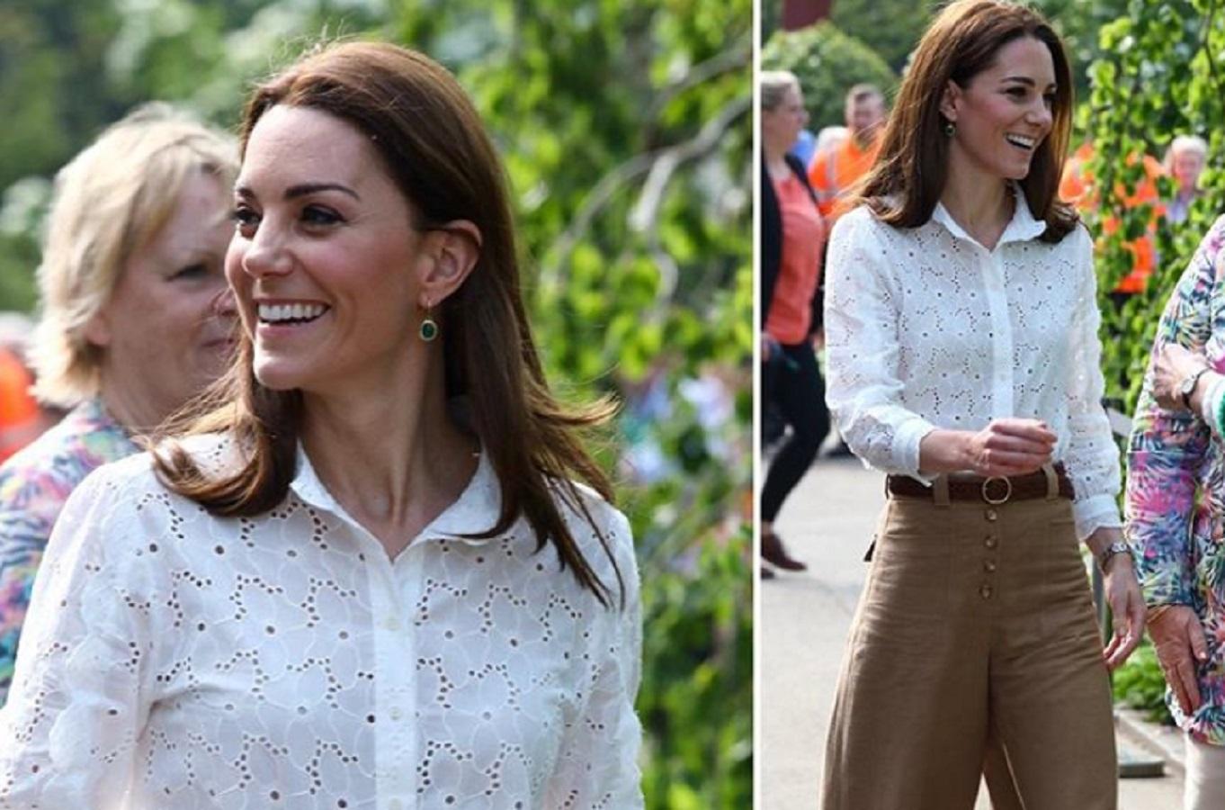 Kate Middleton, look casual smart per la visita al Chelsea Flower Show