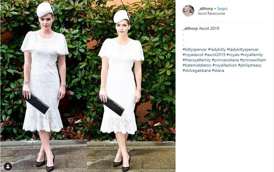 Lady Kitty Spencer in pizzo bianco Dolce & Gabbana al Royal Ascot1
