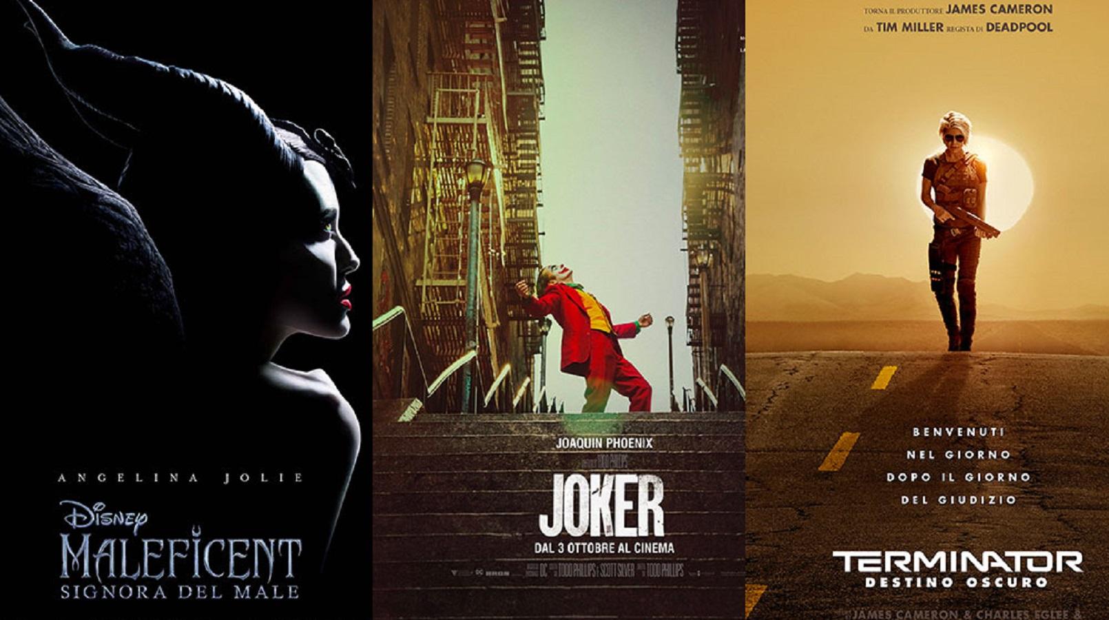 locandina dei film Maleficent, Joker e Terminator