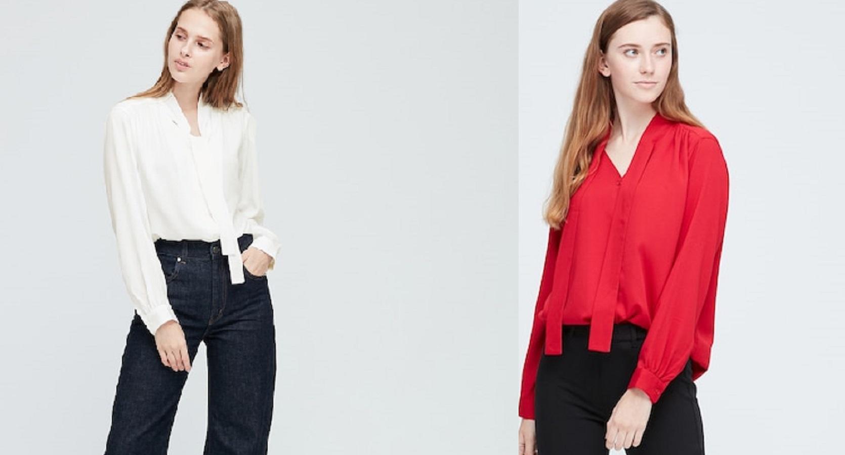 La camicia con fiocco Uniqlo a 29.90 euro ideale per ogni occasione