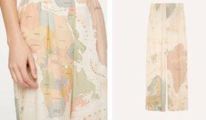 I pantaloni mappamondo Oysho ideali per viaggiare con la mente da casa
