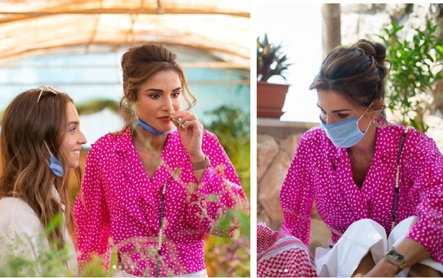 Rania di Giordania, camicia Off-White per la regina