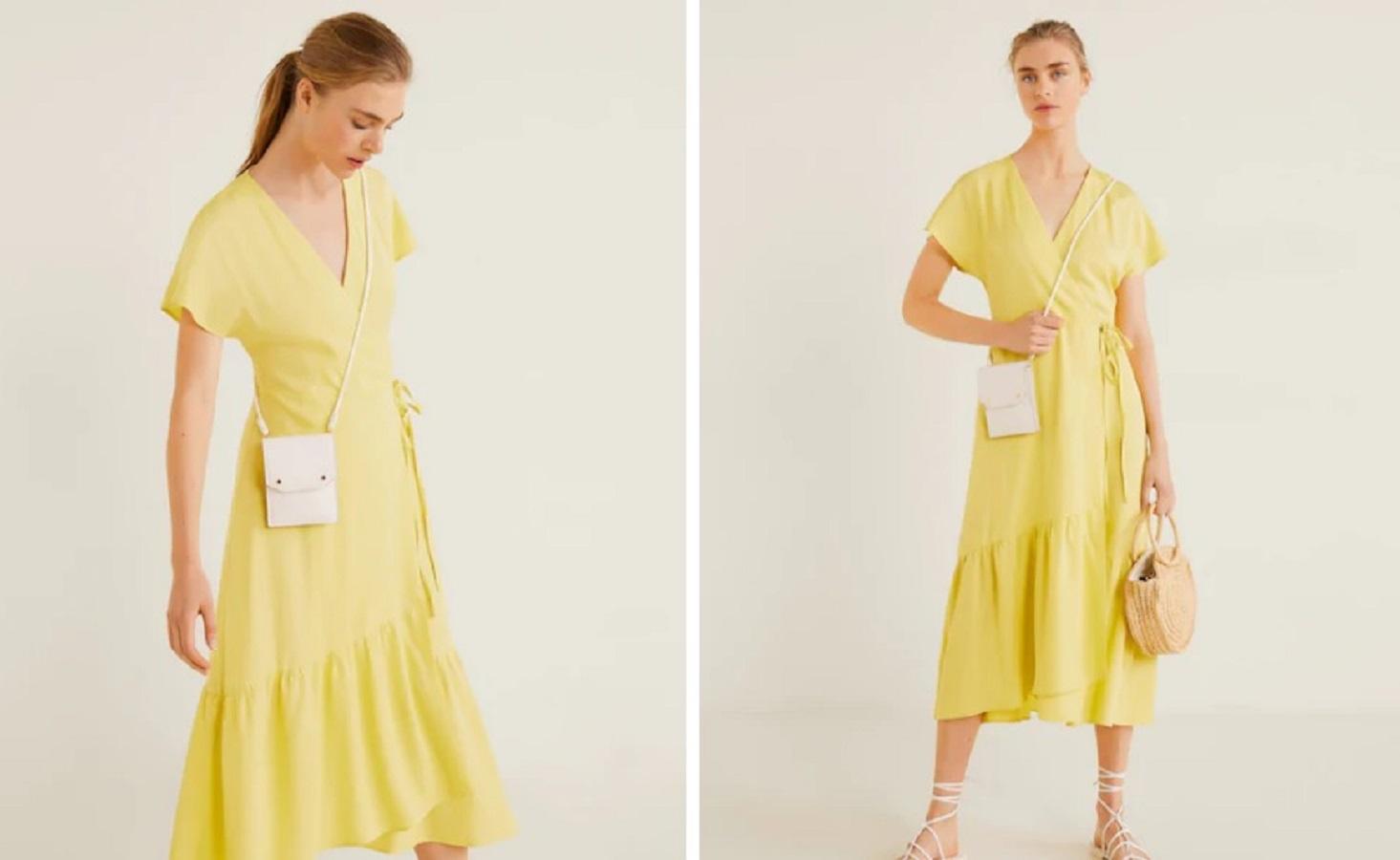 Il vestito giallo volant Mango da 22,99 € per una gita fuori porta
