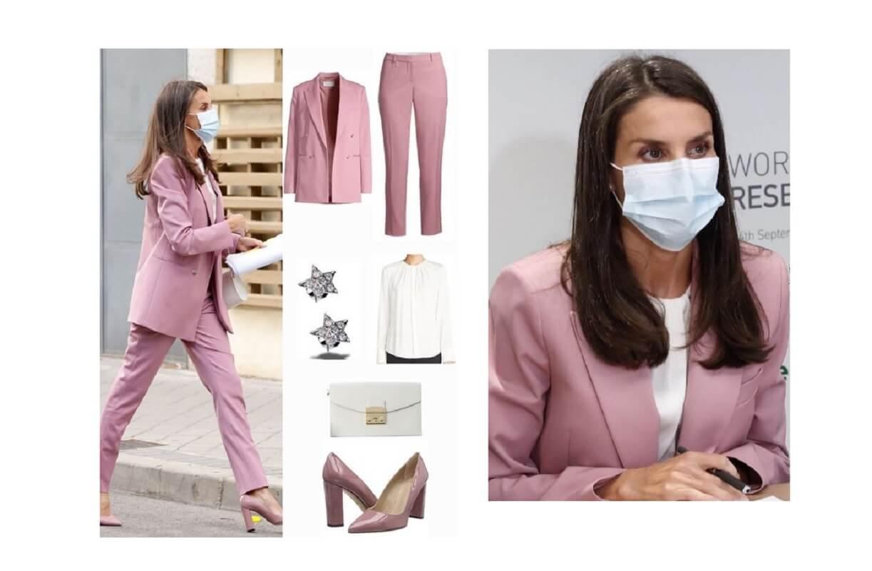 Letizia Ortiz, tailleur rosa a sostegno della lotta contro il cancro