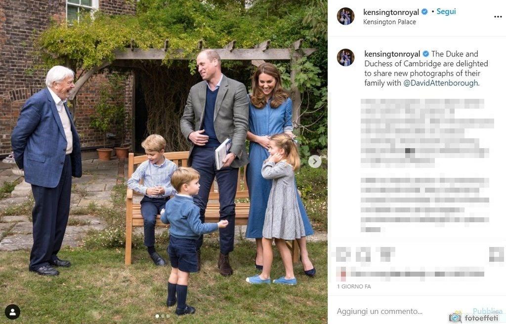 Kate, William con i 3 figli e David Attenborough