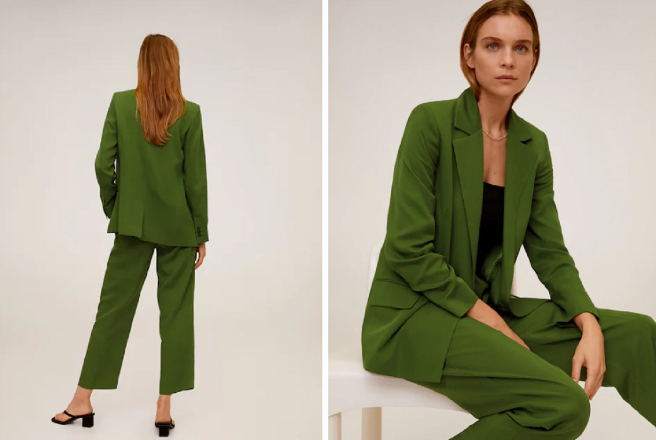 Il tailleur verde Mango per tornare al lavoro con stile