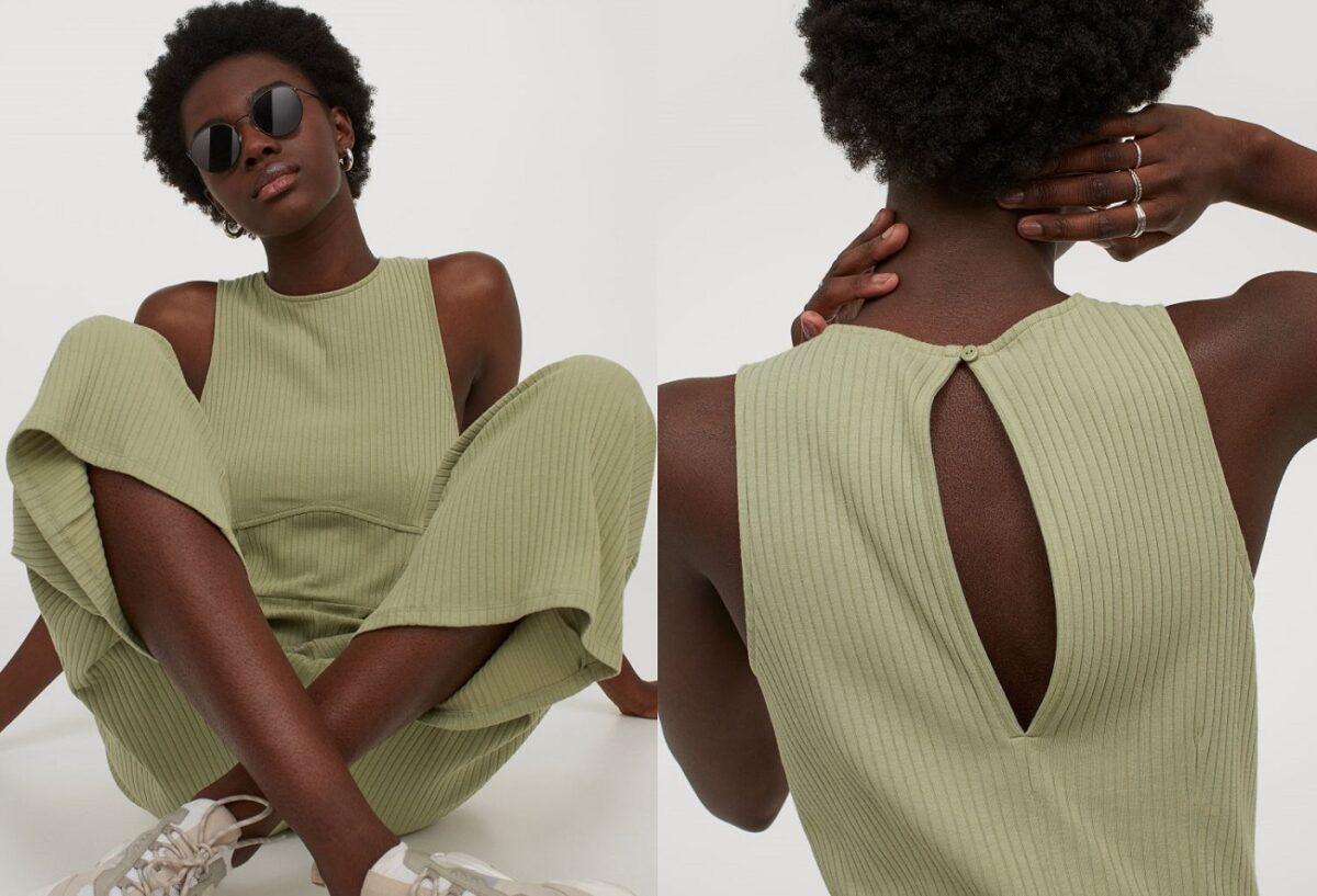 tuta a costine verde di H&M