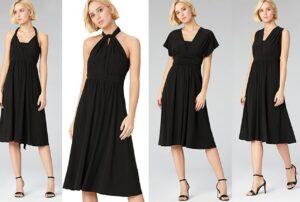 vestito midi nero convertibile