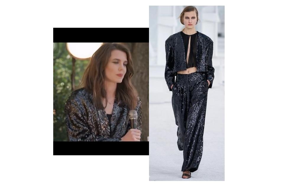 Charlotte Casiraghi, giacca Chanel paillettata per un look chic rockero